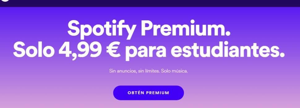 Spotify a mitad de precio para estudiantes