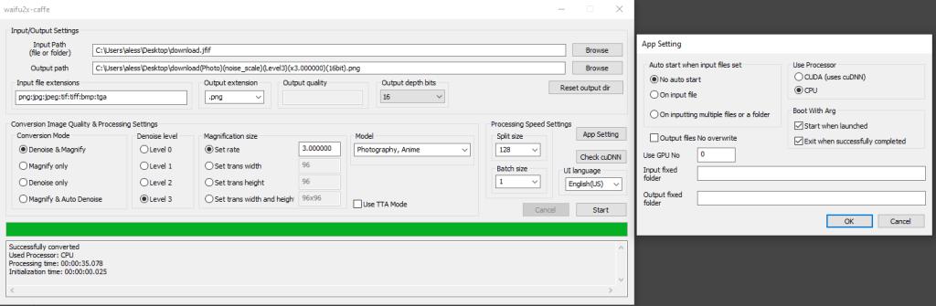 interfaccia ed impostazioni del programma waifu2x