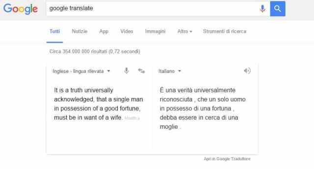 L'incipit di Orgoglio e Pregiudizio, tradotto da Google
