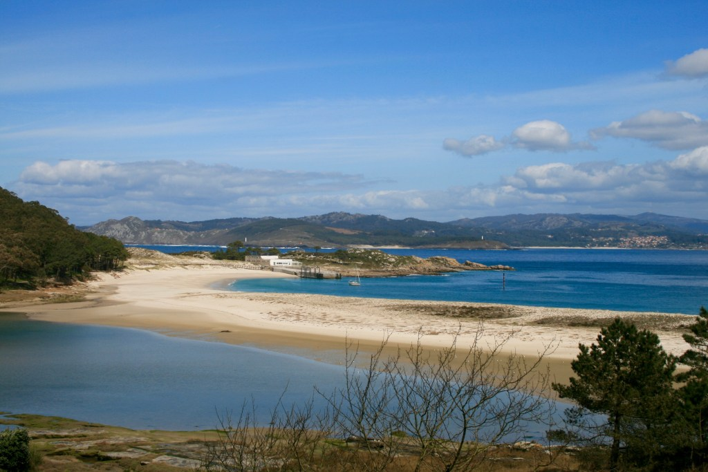 A sandbar linking the Cies Islands, Spain. Notice the lagoon behind the sand bar.