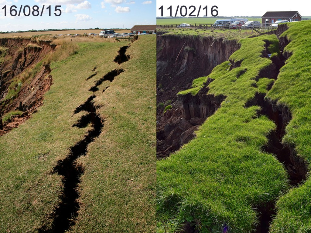Erosion at Mappleton in August 2015 and February 2016.