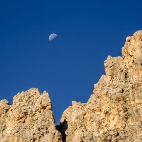 Moon and Rock -- Passo Coronelle, Rosengarten, South Tyrol, Italy