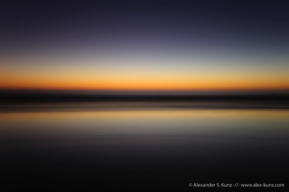 Intentional Camera Movement (panning) abstract at dusk, Seaside State Beach, Cardiff By The Sea, California. October 2011.