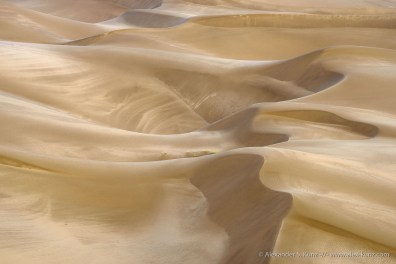 Algodones Dunes in golden evening light, near Brawley, Imperial County, California. July 2014.
