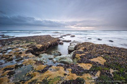 Tide Pools at Tabletop Reef during a storm, Cardiff State Beach, San Diego, California. February 2012.