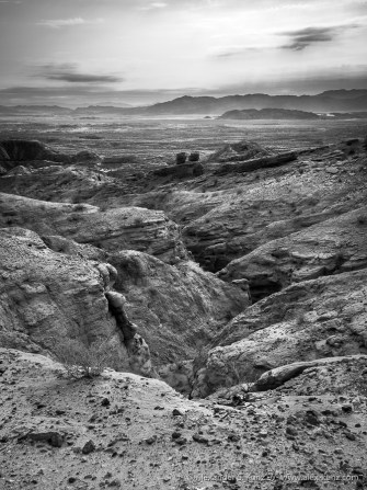 Jagged sandstone and Borrego Badlands seen from the old Calcite Mine area.