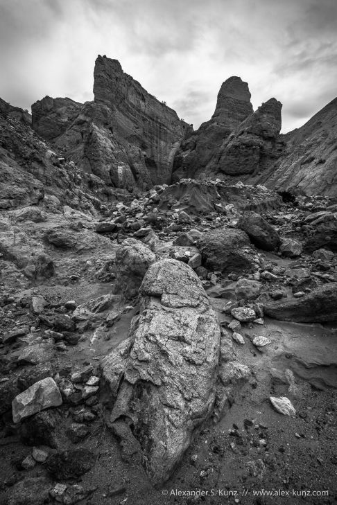 Heavy erosion and towering sandstone in Andrade Canyon, Coyote Mountains Wilderness, California. January 2015.