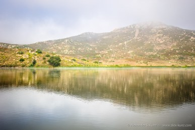 Foggy june morning at Lake Hodges, San Diego, California, USA