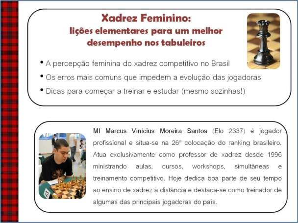 Informações sobre a palestra Xadrez Feminino
