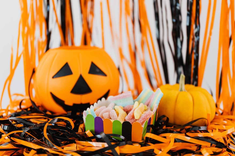 jack o lantern and halloween candy