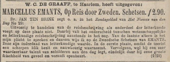 Advertentie in 'Het nieuws van den dag' 5 oktober 1877.