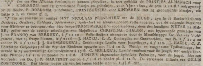 Advertentie in de Groninger Courant