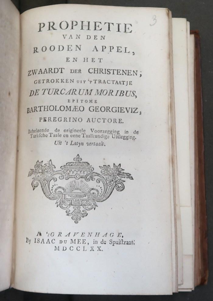 Title-page of Prophetie van den rooden appel ('sGravenhage, Isaac Du Mee, 1770).