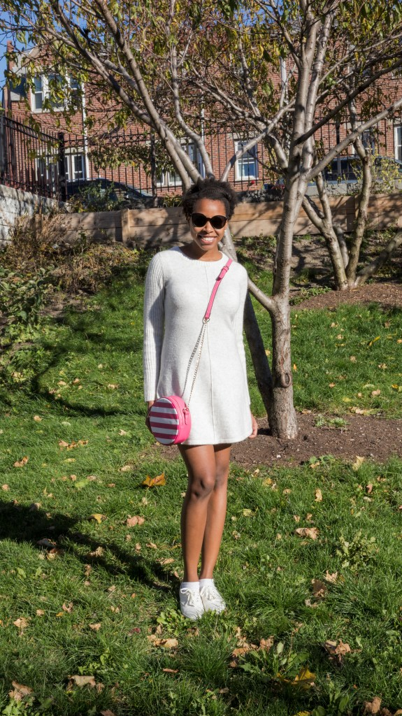Sweater dress and keds