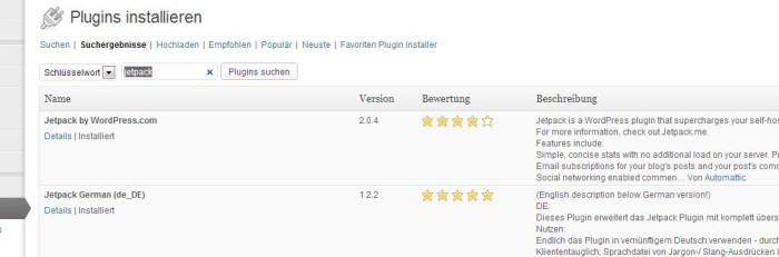 """Screenshot des Plugins """"Jetpack"""" von WordPress.com (Keine Creative Commons). Das Plugin ist verfügbar unter:  http://jetpack.me/"""