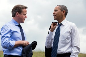 President Barack Obama and Prime Minister David Cameron of the United Kingdom talk during the G8 Summit at the Lough Erne Resort in Enniskillen, Northern Ireland, June 17, 2013. (Official White House Photo by Pete Souza)  This official White House photograph is being made available only for publication by news organizations and/or for personal use printing by the subject(s) of the photograph. The photograph may not be manipulated in any way and may not be used in commercial or political materials, advertisements, emails, products, promotions that in any way suggests approval or endorsement of the President, the First Family, or the White House.