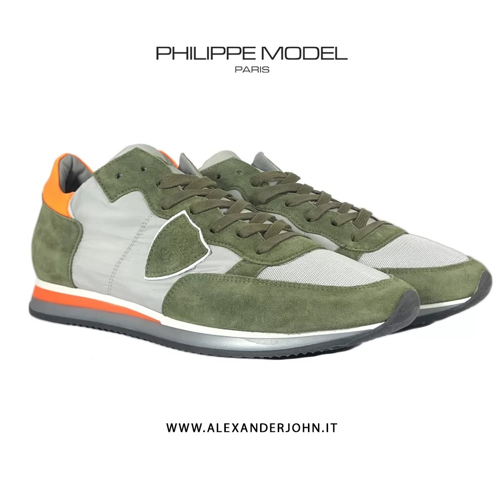 PHILIPPE MODEL Uomo Tropez Trlu w134 Camoscio Verde