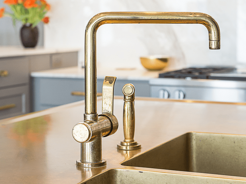 french transitional kitchen faucet with