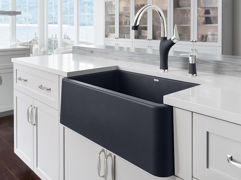 kitchen faucets stainless steel bench for table blanco ikon 30