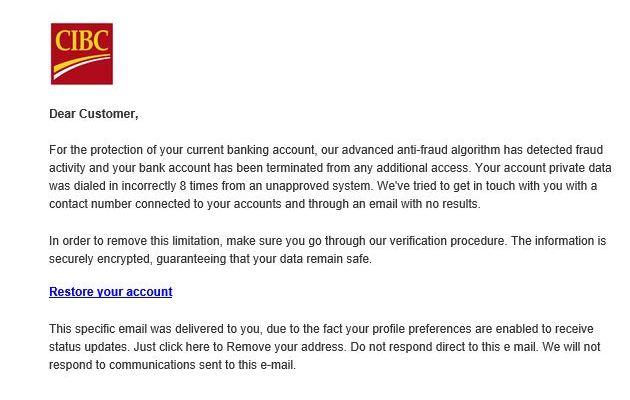 Фальшивый е-мейл от CIBC