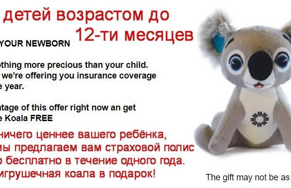 Игрушечный коала в подарок детям в возрасте до 12 месяцев!