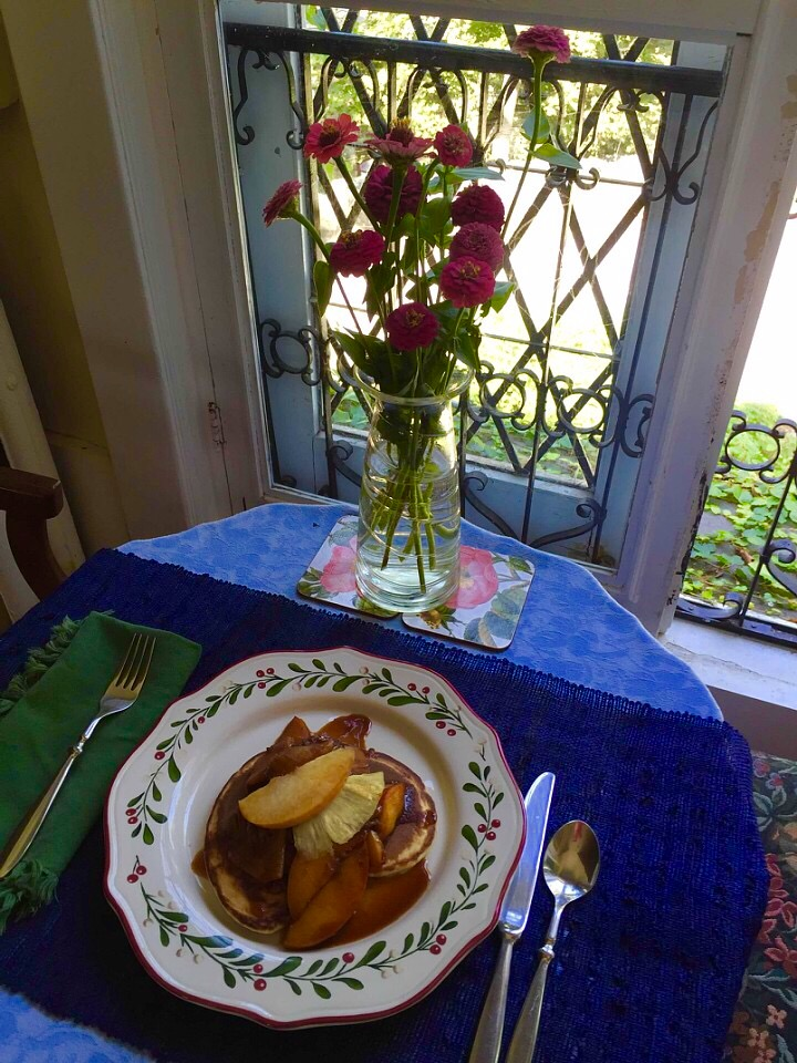 Brown Sugar Peach Pineapple Compote for Pancakes from Alexandersmom.com