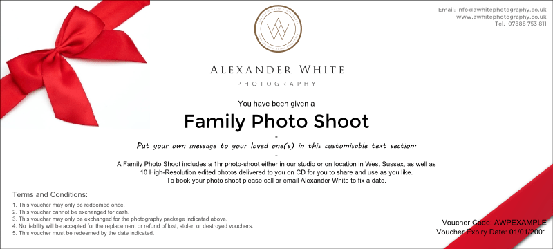Family portrait photography voucher