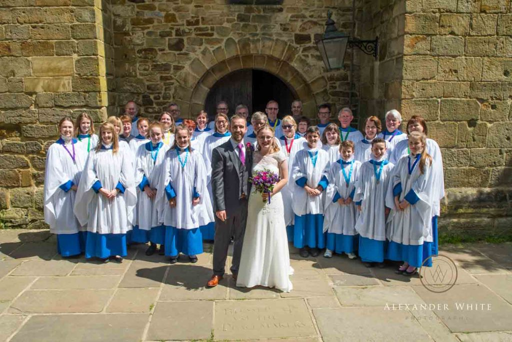 Bride and Groom group photo with the StMary's Church choir