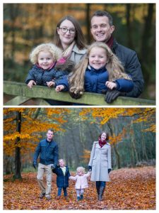 Two family photos of the same family, taken a year apart both outdoor family photo shoots