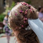 Bride with confetti in her hair