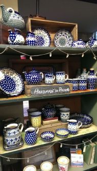 Blue dot Polish handmade pottery