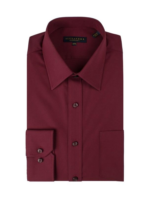 Wine Poplin Shirt - Shirts Alexandre London