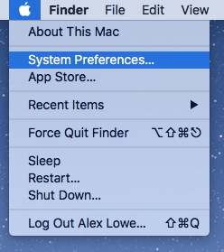 Go to system Preferences from the  in the top left of the screen.