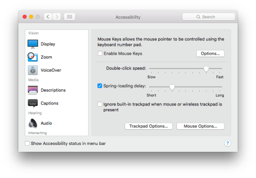 "Once in the Accessibility pane, click the ""Trackpad Options..."" button"