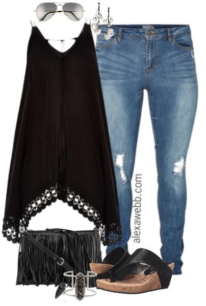 Plus Size Black Boho Outfit Alexa Webb