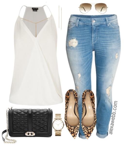 a5806306c6f14 Plus Size Boyfriend Jeans - Plus Size Casual Outfit Idea - Plus Size Fashion  for Women