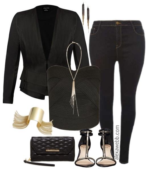Plus Size Night Out in Dark Jeans - Plus Size Outfit Idea - Plus Size Fashion - alexawebb.com