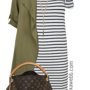 Plus Size Striped Dress Outfit - Plus Size Fashion - alexawebb.com