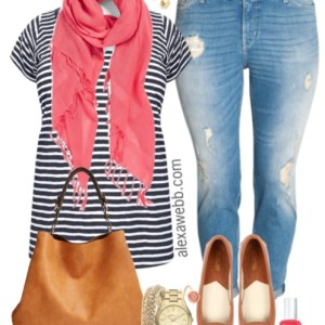 Plus Size Summer Stripes & Boyfriend Jeans Outfit - Plus Size Fashion - alexawebb.com