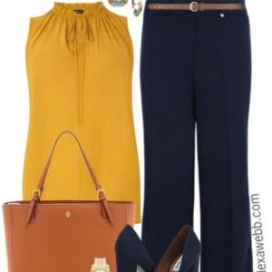 Plus Size Navy Trousers Work Outfit - Plus Size Work Outfit Idea - Plus Size Fashion - alexawebb.com #alexawebb