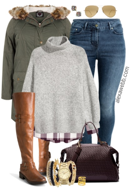 Plus Size Jeans Over The Knee Boots Outfit Alexa Webb