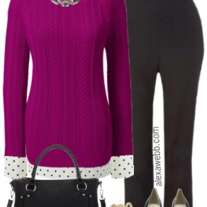 Plus Size Berry Sweater Work Outfit - Plus Size Fashion for Women - alexawebb.com #alexawebb