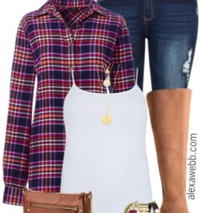 Plus Size Layered Flannel Outfit - Plus Size Fashion for Women - alexawebb.com #alexawebb
