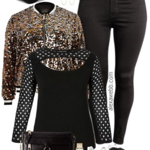 Plus Size Sequin Bomber Jacket Outfit - Plus Size Fashion for Women - alexawebb.com #alexawebb