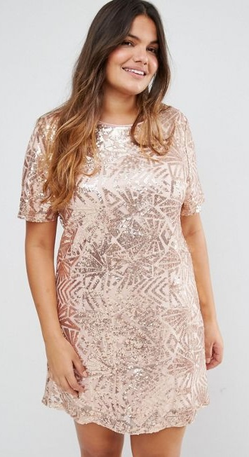 White sequin plus size dress