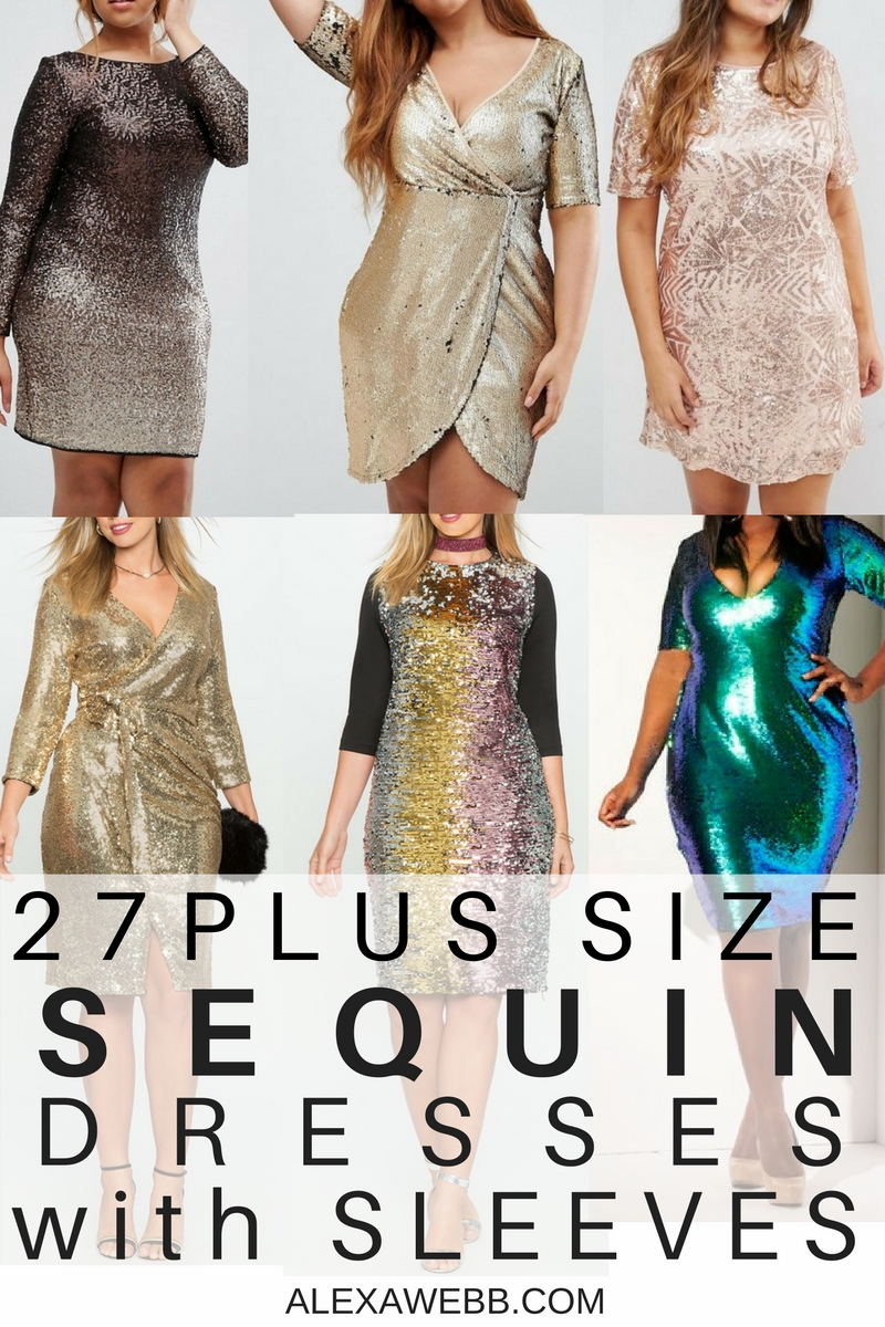 27 Plus Size Sequin Dresses {with Sleeves}