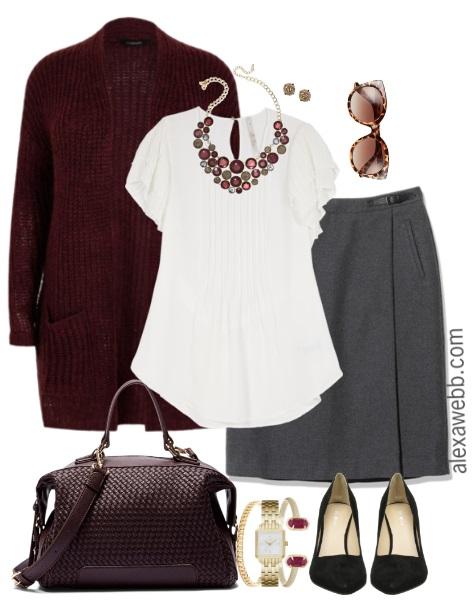 951554ede4734 Plus Size Herringbone Skirt Work Outfit - Plus Size Fashion for Women - Alexa  Webb alexawebb