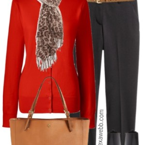 Plus Size Red Orange Cardigan Work Outfit - Plus Size Fashion for Women - alexawebb.com