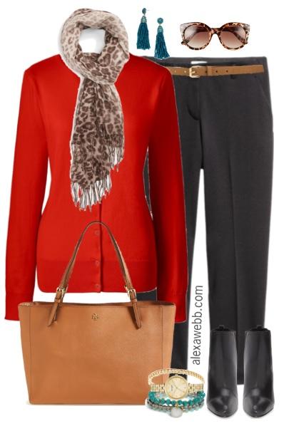 Plus Size Red Orange Cardigan Work Outfit - Plus Size Fashion for Women - alexawebb.com