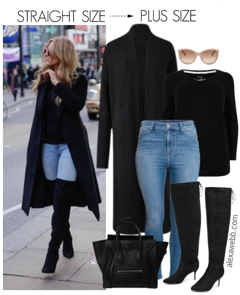 Straight Size To Plus Size Over The Knee Boots Outfit Alexa Webb